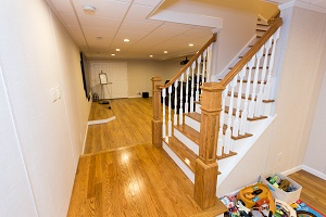 Finishing touches for a remodeled basement in Greenville