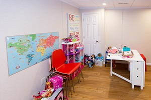 Children's playroom installed in a Wilmington basement