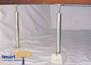 Crawl space structural support jacks installed in Pembroke