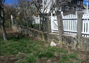 a retaining wall installed in Greenville