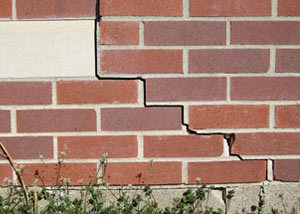 a foundation wall crack on a Dudley home.