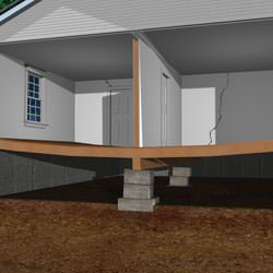 Illustration Of A Severely Sinking Crawl Space Structure.