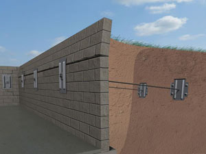 A graphic illustration of a foundation wall system installed in Southern Pines