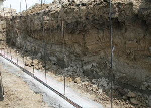 Soil layers exposed while excavating to construct a new foundation in Kinston