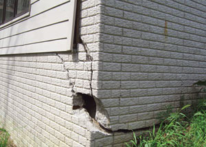 A severely damaged foundation wall in Camp Lejeune