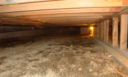 A nasty, mouldy crawl space in Lumberton, North Carolina