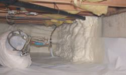 Spray foam insulation in a crawl space in Fort Bragg, North Carolina
