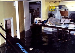 A laundry room flood in Havelock, with several feet of water flooded in.