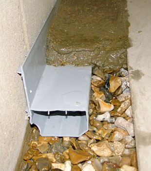 A basement drain system installed in a Sanford home