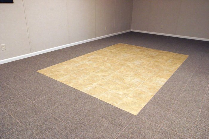 ... Tiled And Carpeted Basement Flooring Installed In A Goldsboro Home ·  Interlocking Carpeted Floor Tiles ...