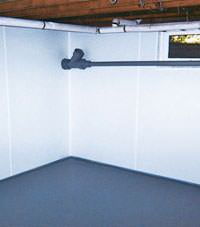 Plastic basement wall panels installed in a Lumberton, North Carolina home