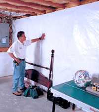 Plastic 20-mil vapor barrier for dirt basements, Lumberton, North Carolina installation