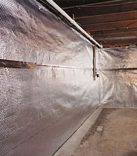 Radiant heat barrier and vapor barrier for finished basement walls in Lumberton, North Carolina